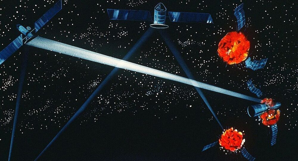 A Pentagon artist's concept of a ground / space-based hybrid laser weapon