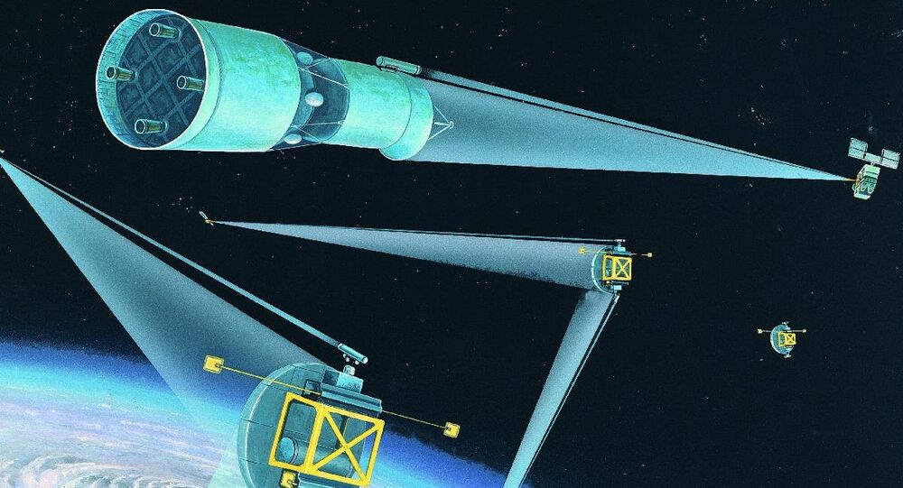 Soviet space-based strategic defenses; DIA artist's rendering from the 1980s.