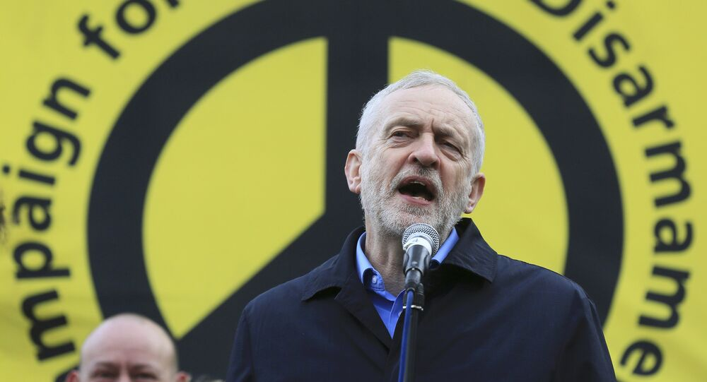 Jeremy Corbyn, the leader of Britain's opposition Labour Party, addresses a protest against the Trident nuclear missile system in London, February 27, 2016.