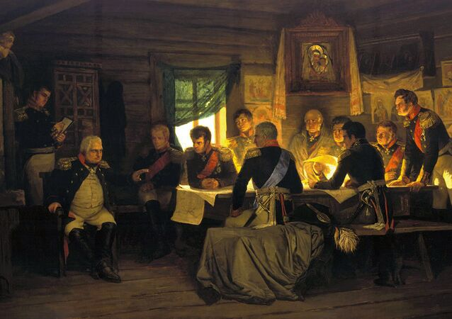 Kutuzov at the historic Fili conference, deciding to open Moscow to Napoleon. Painting by Aleksey Kivshenko
