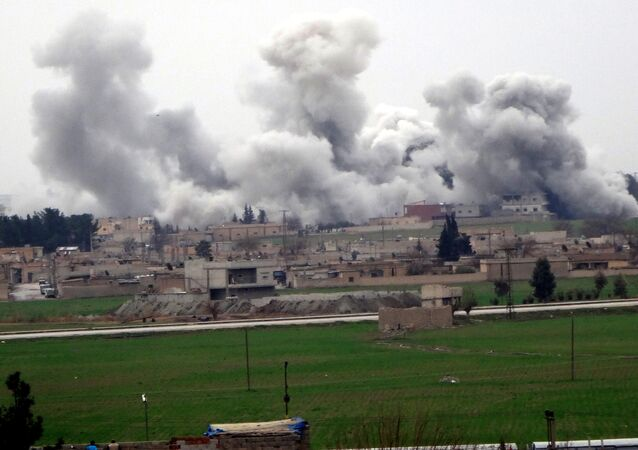 A picture taken on February 27, 2016 in Akcakale in Sanliurfa province shows smoke rising from the neightbourhood of Syrian city Tel Abyad during clashes between Islamic State Group and People's Protection Units (YPG)