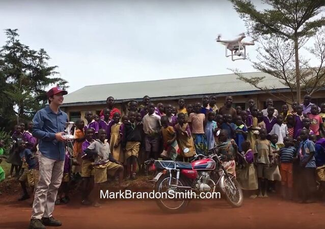 African kids see drone for the first time!
