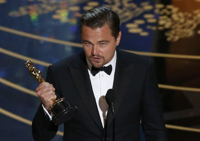 Leonardo DiCaprio accepts the Oscar for Best Actor for the movie The Revenant