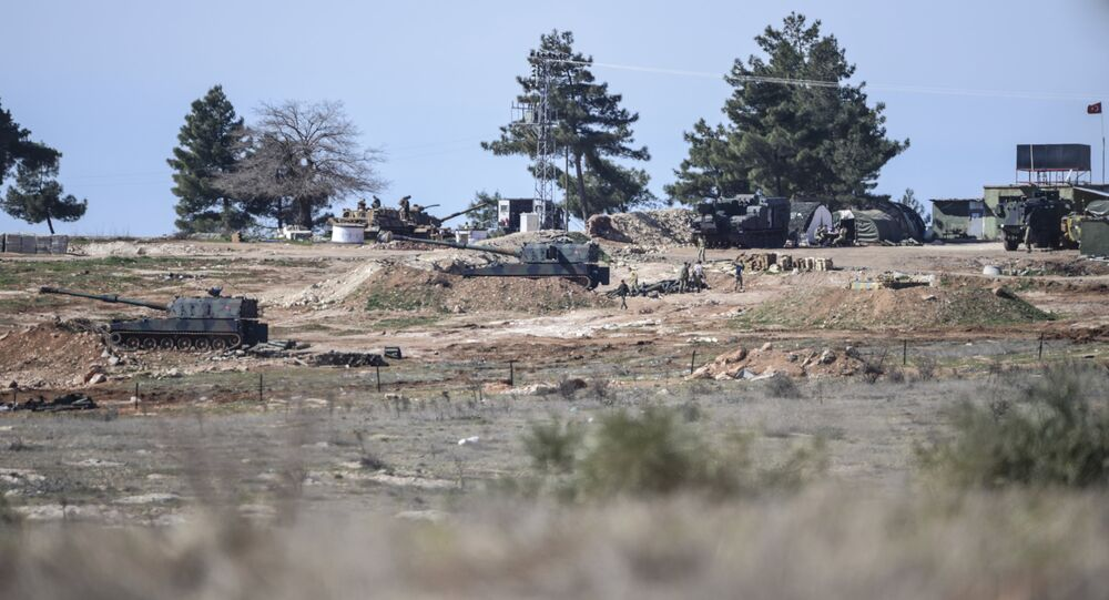 A Turkish army position is seen near the Oncupinar crossing gate close to the town of Kilis, south central Turkey, close to the Syria border, on February 16, 2016