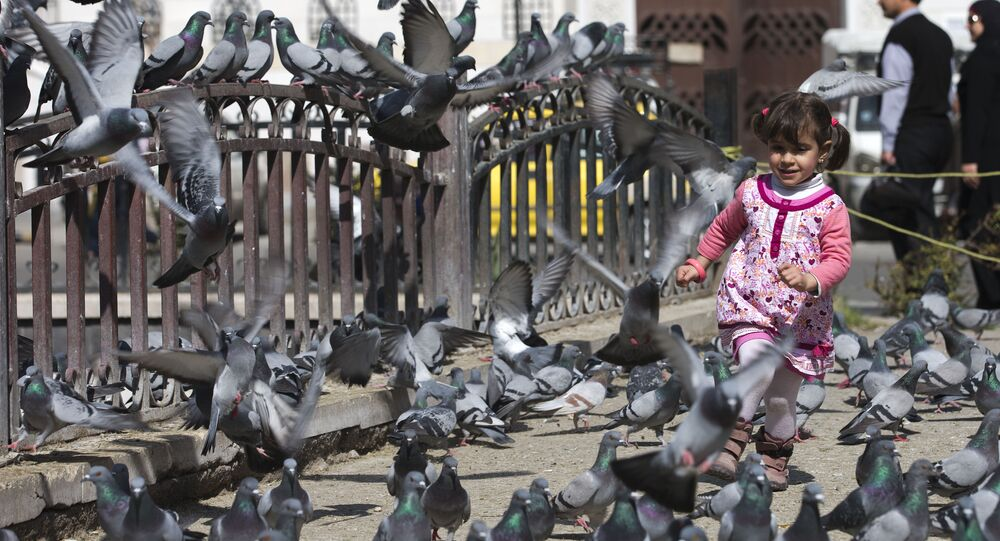 A Syrian girl chases pigeons in Marjeh Square, Damascus, Syria, Saturday, Feb. 27, 2016