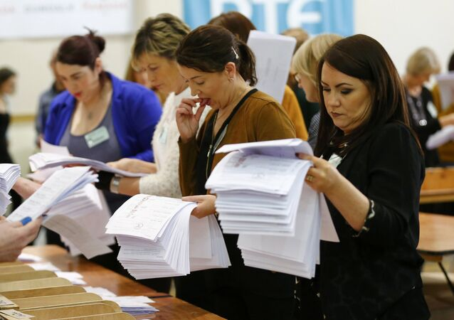 Ballot papers are sorted during the second day of the General Election count in Dundalk, Ireland February 28, 2016.