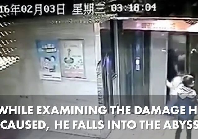 This elevator nightmare was caught on tape