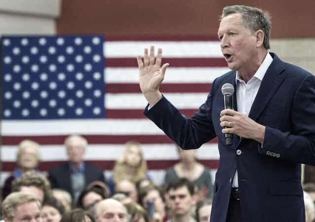 Republican presidential hopeful Ohio Governor John Kasich speaks to supporters February 22, 2016, at George Mason University, in Fairfax, Virginia.