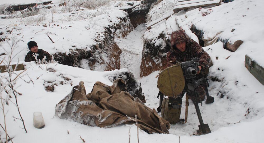 DPR militiamen on demarcation line