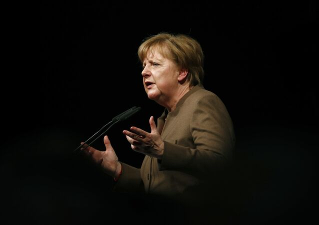 German Chancellor Angela Merkel delivers her keynote speech during the Christain Democratic Union (CDU) politial Ash Wednesday meeting in Volkmarsen, Germany February 29, 2016.
