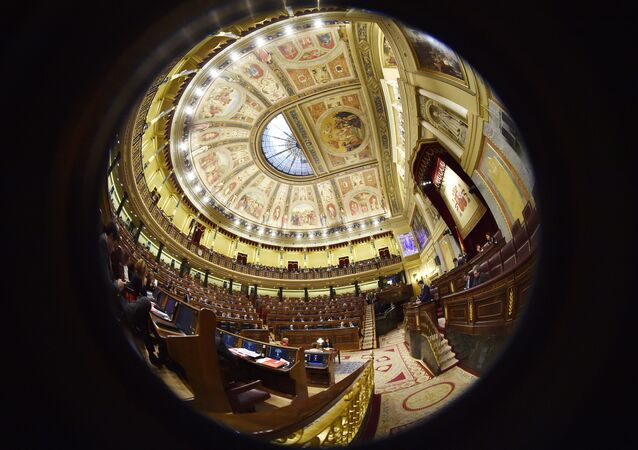 Fish-eye view picture shows a general view of the Spanish parliament.