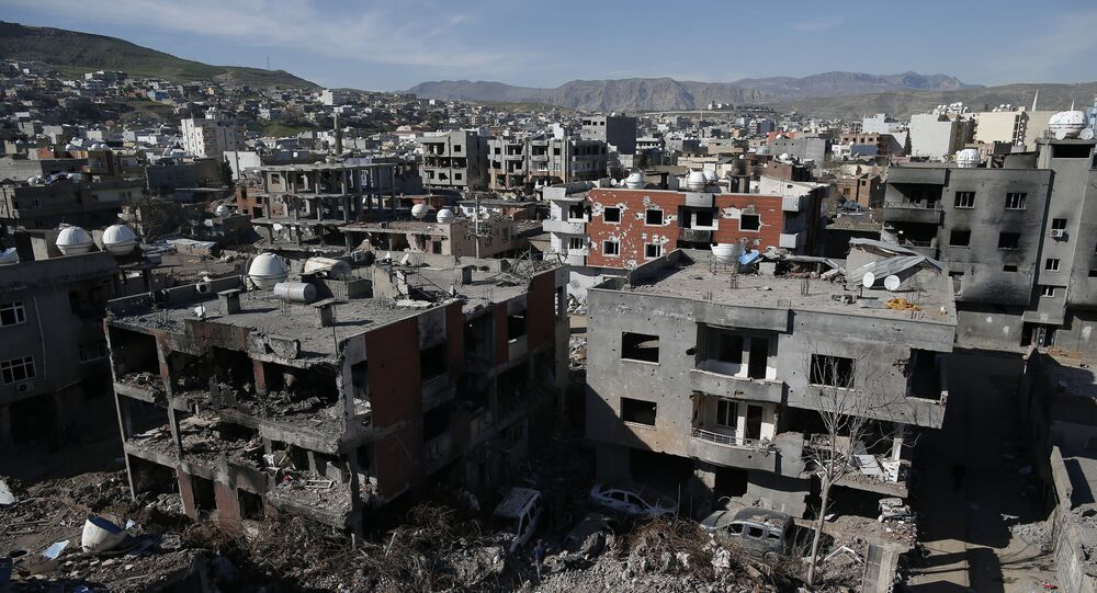 Ruined houses and buildings are seen in Cizre, Turkey, Wednesday, March 2, 2016.