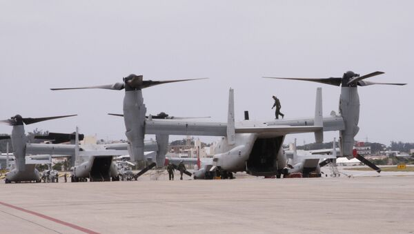 The new MV-22 Ospreys are seen at Marine Corps Air Station Futenma in Ginowan, Okinawa. - Sputnik International