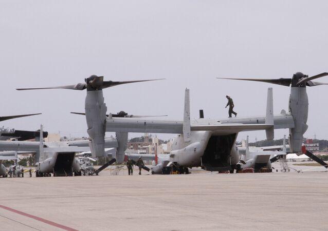 The new MV-22 Ospreys are seen at Marine Corps Air Station Futenma in Ginowan, Okinawa.