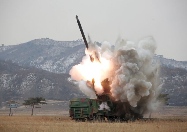 A new multiple launch rocket system is test fired in this undated photo released by North Korea's Korean Central News Agency (KCNA) in Pyongyang March 4, 2016