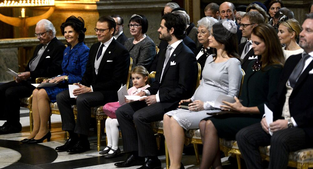 Front row from left, Sweden's King Carl Gustaf, Queen Silvia, Prince Daniel, Princess Estelle, Prince Carl Philip, Princess Sofia, Princess Madeleine and Christopher O'Neill attend a thanksgiving service for the newborn prince in the palace church at Stockholm Royal Palace, March 3, 2016