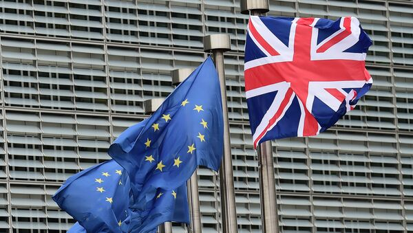 A British flag flutters amongst EU flags ahead of British Prime Minister's visit at the European Commission in Brussels on January 29, 2016 - Sputnik International