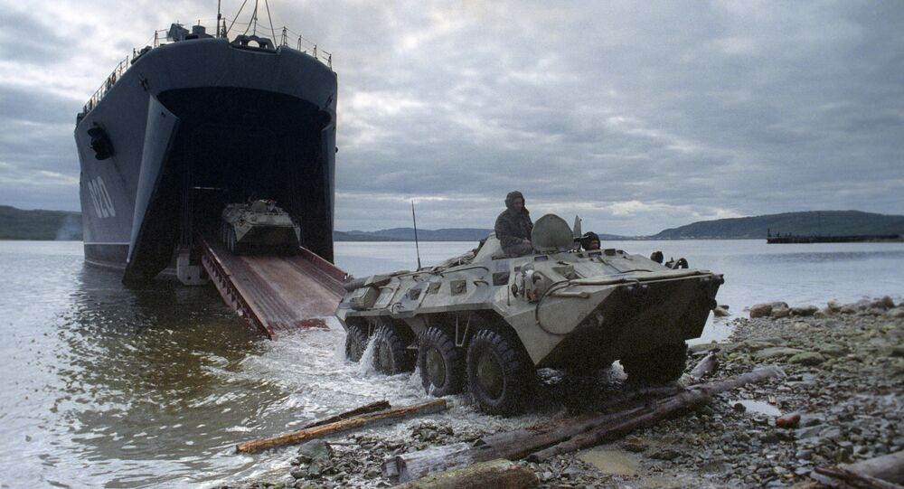 Northern Fleet. Barents Sea. Amphibious assault exercise using Mitrofan Moskalenko large landing ship