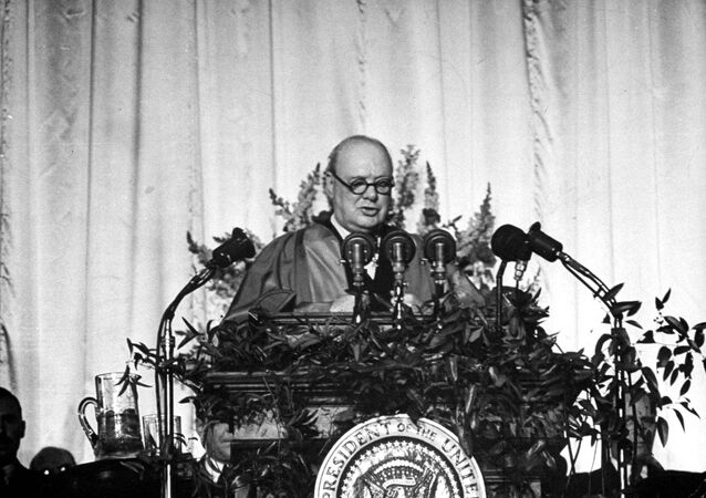 Winston Churchill, former prime minister of England, speaks at Westminster College in Fulton, Mo. March 5,1946