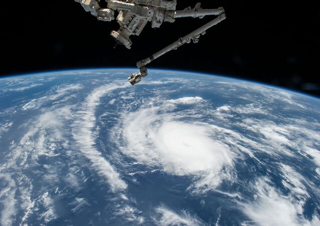 Hurricane Danny as seen from the International Space Station as it traversed the Caribbean Sea headed for Puerto Rico, the Dominican Republic and Cuba
