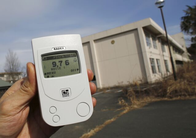 Reuters reporter measures a radiation level of 9.76 microsieverts per hour in front of Kumamachi Elementary School inside the exclusion zone in Okuma, near Tokyo Electric Power Co's (TEPCO) tsunami-crippled Fukushima Daiichi nuclear power plant, Fukushima Prefecture, Japan, February 13, 2016