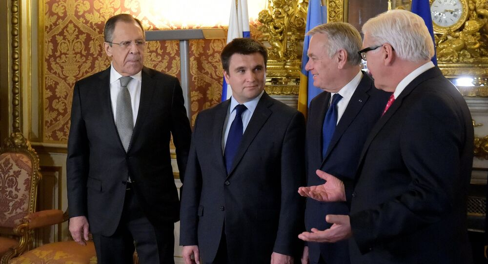 Normandy Four foreign ministerial meeting starts in Paris, March 3 2016. From left: Russian Foreign Minister Sergey Lavrov, Foreign Minister of Ukraine Pavlo Klimkin, Foreign Minister of France Jean-Marc Ayrault and German Foreign Minister Frank-Walter Steinmeier