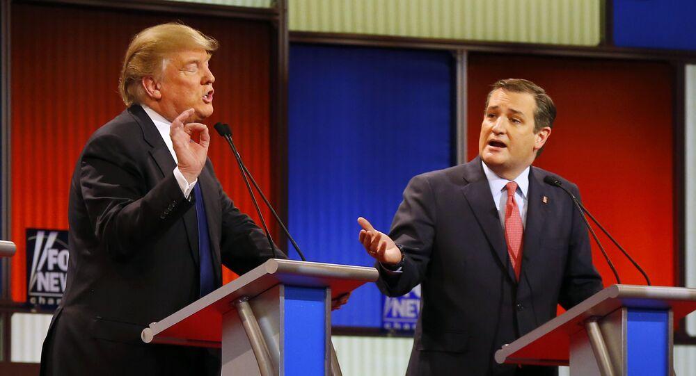Republican presidential candidates, businessman Donald Trump and Republican presidential candidate, Sen. Ted Cruz, R-Texas, argue a point during a Republican presidential primary debate at Fox Theatre, Thursday, March 3, 2016, in Detroit