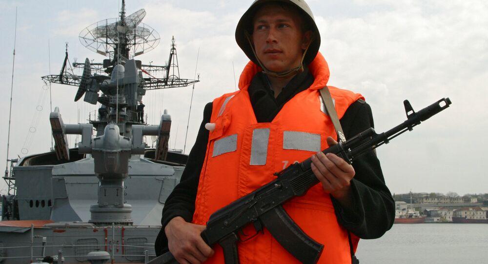 A serviceman of the Smetlivy anti-submarine ship of Russia's Black Sea Fleet at the naval base in Sevastopol