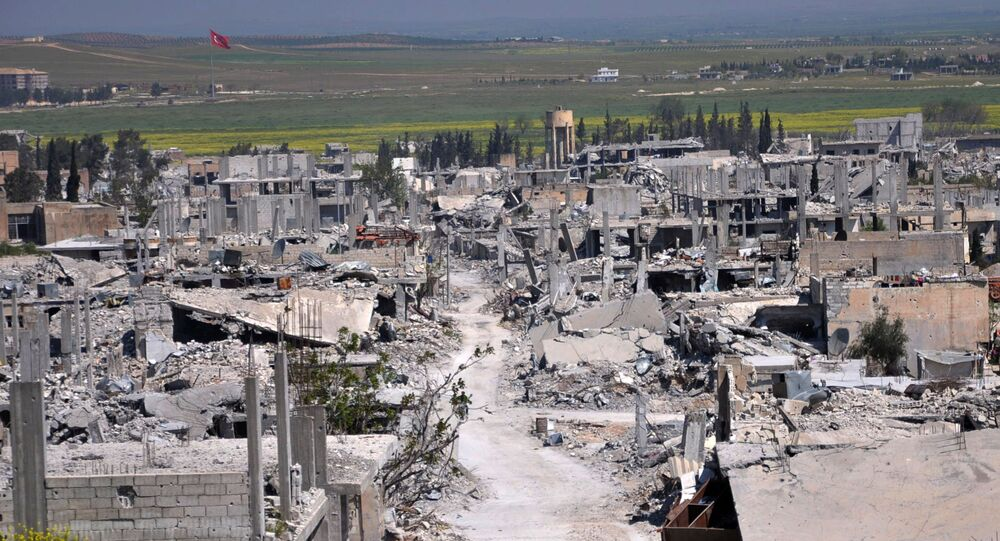 An area that was destroyed during the battle between the U.S. backed Kurdish forces and the Islamic State fighters, in Kobani. file photo