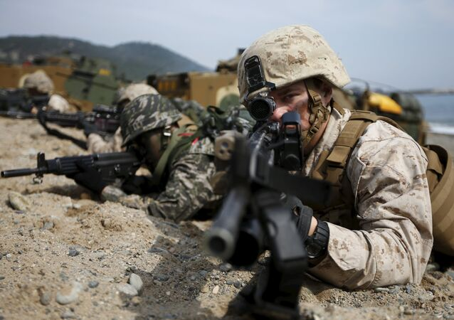 U.S. and South Korean marines participate in a U.S.-South Korea joint landing operation drill in Pohang, South Korea, in this March 31, 2014 file picture