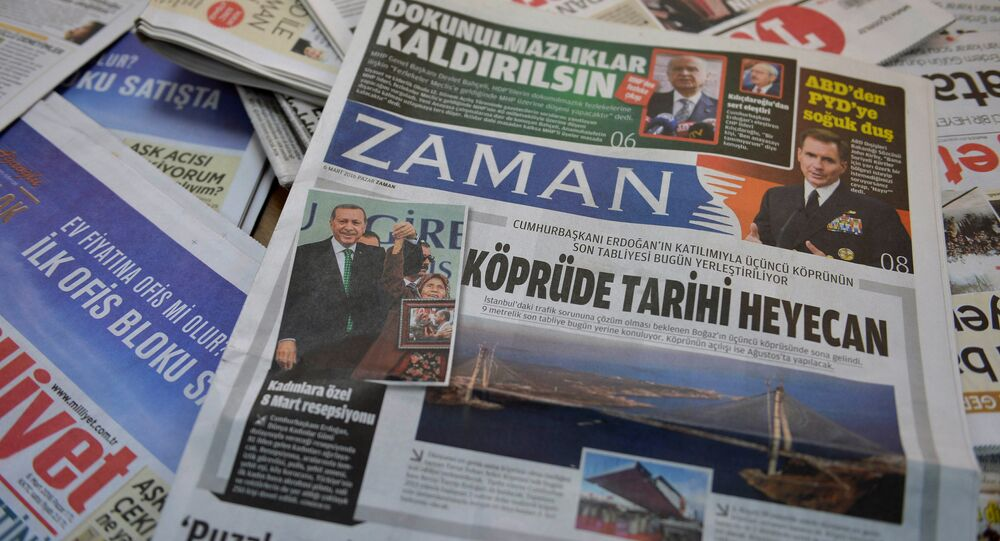 A photo taken in Ankara on March 6, 2016 shows the front page of the first new edition of the Turkish daily newspaper Zaman, which had staunchly opposed the president, now with articles supporting the government since its seizure by authorities