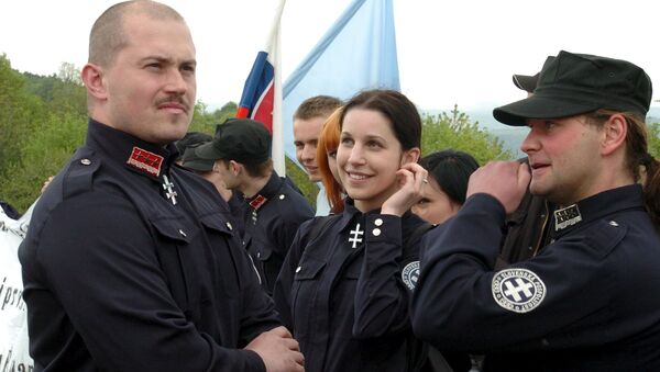 A leader of People's Party Our Slovakia (LS NS), Marian Kotleba, attends a commemoration of the 87th anniversary of the death of Slovak general Milan Rastislav Stefanik near the village of Brezova pod Bradlom, Slovakia, in this May 6, 2006 file photo - Sputnik International