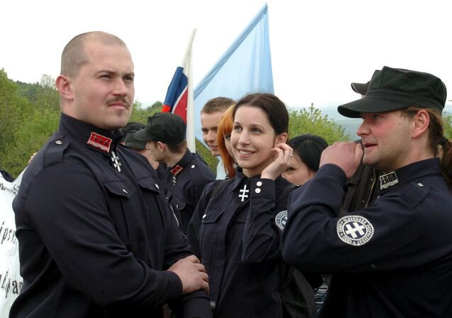 A leader of People's Party Our Slovakia (LS NS), Marian Kotleba, attends a commemoration of the 87th anniversary of the death of Slovak general Milan Rastislav Stefanik near the village of Brezova pod Bradlom, Slovakia, in this May 6, 2006 file photo