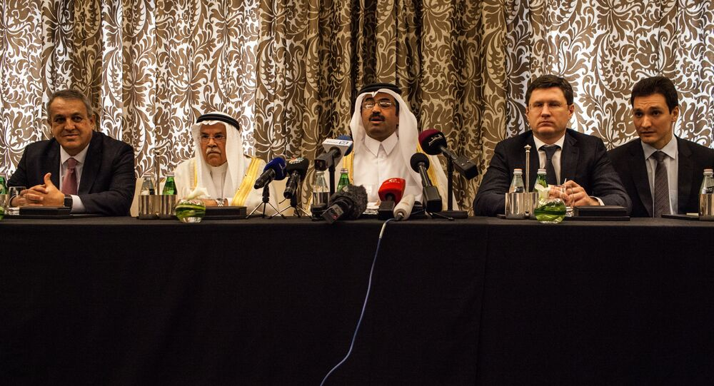 Qatar's Minister of Energy and Industry Mohammed Saleh al-Sada (C),Saudi Arabia's minister of Oil and Mineral Resources Ali al-Naimi (C-L), Venezuela's minister of petroleum and mining Eulogio Del Pino (L), and Russia's Energy Minister Alexander Novak (C-R) attend a press conference on February 16, 2016 in the Qatari capital Doha