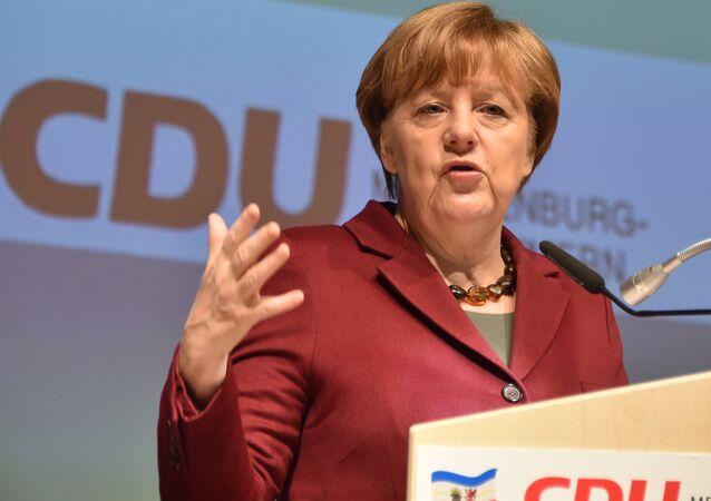 German Chancellor Angela Merkel gives a speech during a regional meeting of her Christian Democratic Union (CDU) party on January 30, 2016 in Neubrandenburg, northeastern Germany.