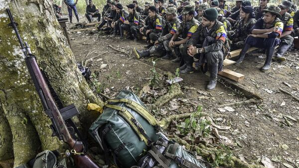 Revolutionary Armed Forces of Colombia (FARC) guerrillas listen during a class on the peace process between the Colombian government and their force, at a camp in the Colombian mountains. (File) - Sputnik International