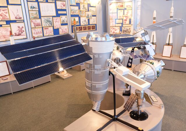 A model of the Resurs-P space probe. The originals were launched to space in 2013 and 2014