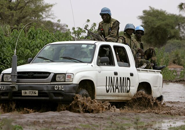 Convoy of the joint United Nations-African Union force. (File)