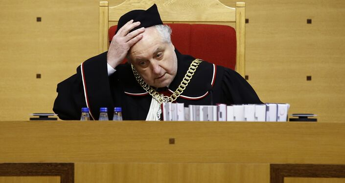 Andrzej Rzeplinski, head of Poland's Constitutional Court, attends a session at the Constitutional Tribunal in Warsaw, Poland March 8, 2016.