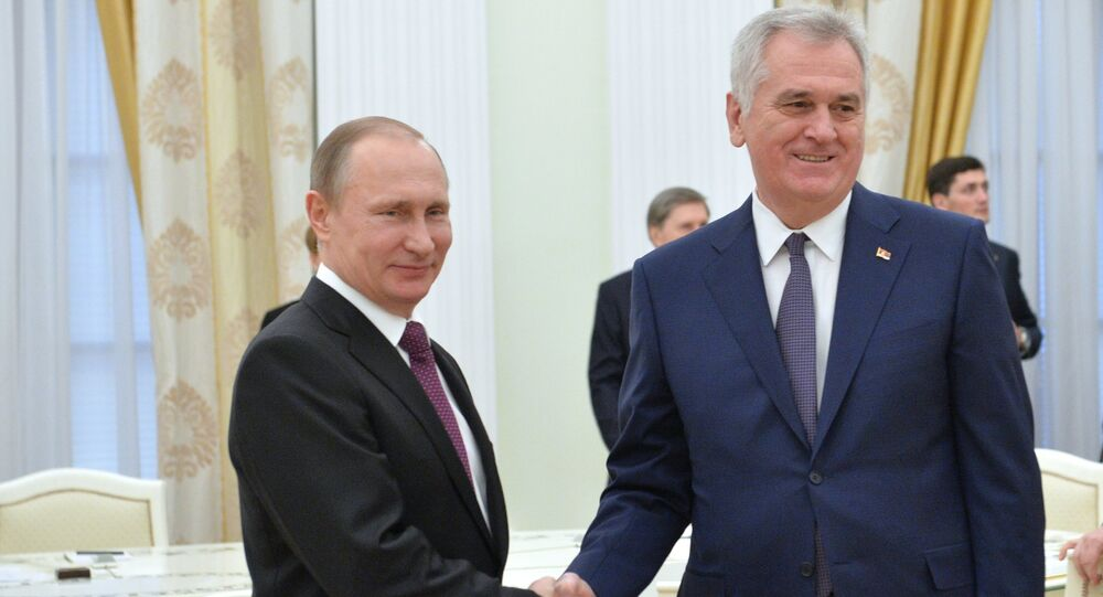 Russian President Vladimir Putin meets with his Serbian Counterpart Tomislav Nikolic