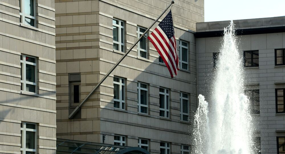 The US national flag is displayed outside the building of the US embassy in Berlin