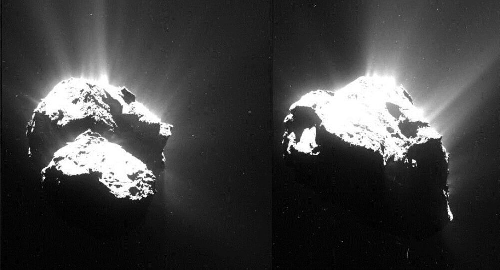 This series of images of Comet 67P/Churyumov–Gerasimenko was captured by Rosetta's OSIRIS narrow-angle camera on 26 July 2015 from a distance of about 170 km.