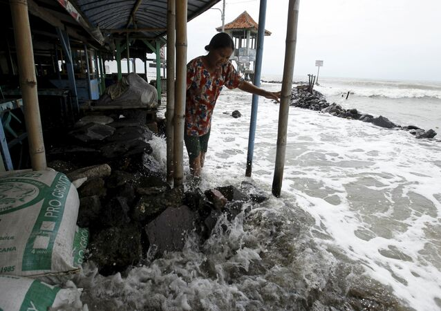 A villager walks on a stone barrier as sea water reaches her house in Mayangan village in Subang, Indonesia's West Java province, in this July 16, 2010 file photo