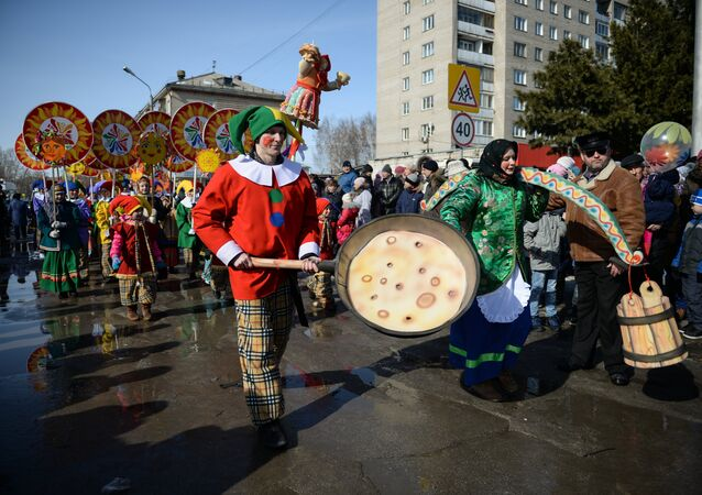 Maslenitsa festivities held on a square of the Cathedral of Transfiguration in Berdsk, Novosibirsk Region