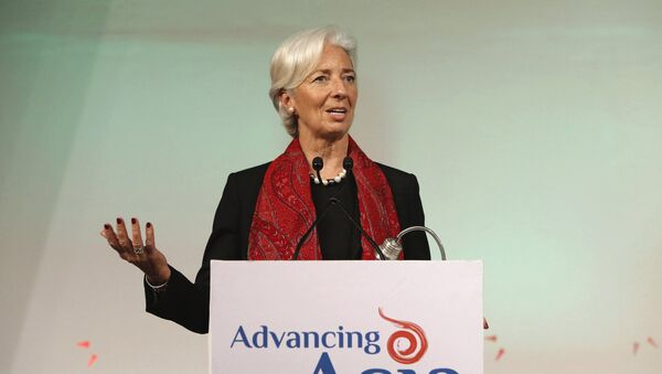 International Monetary Fund (IMF) Managing Director Christine Lagarde addresses the gathering during her closing remarks at the Advancing Asia: Investing for the Future conference in New Delhi, India, March 13, 2016 - Sputnik International