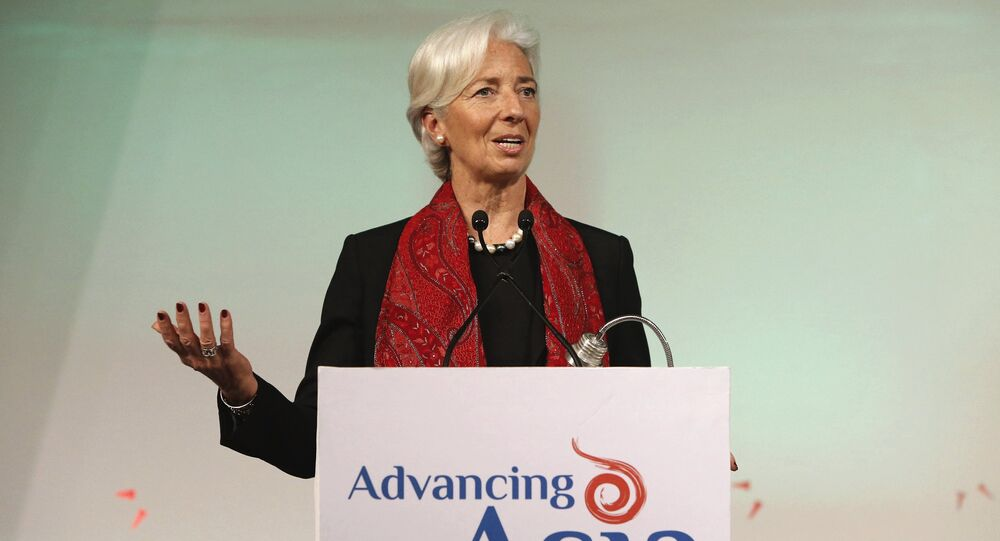 International Monetary Fund (IMF) Managing Director Christine Lagarde addresses the gathering during her closing remarks at the Advancing Asia: Investing for the Future conference in New Delhi, India, March 13, 2016
