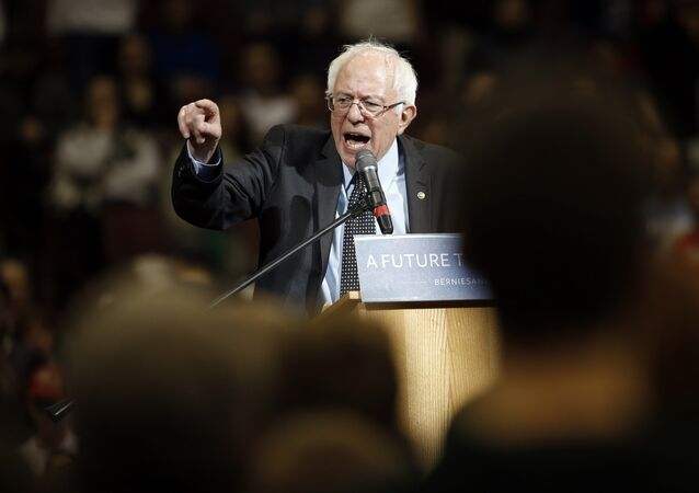 Democratic presidential candidate, Sen. Bernie Sanders, I-Vt., speaks during a campaign stop on Sunday, March 13, 2016, at Ohio State University in Columbus, Ohio