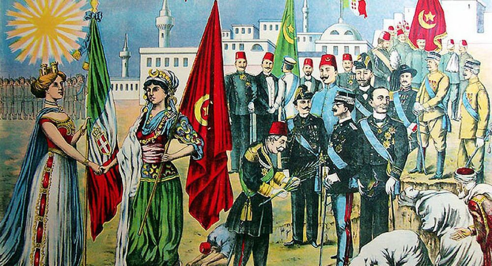 Italy's representation of the takeover of Ottoman Tripolitania in 1911