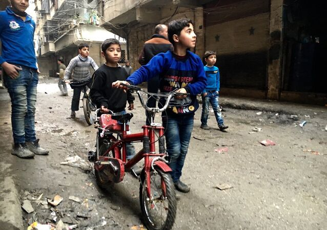 Children in Nubel, north of Aleppo province in Syria