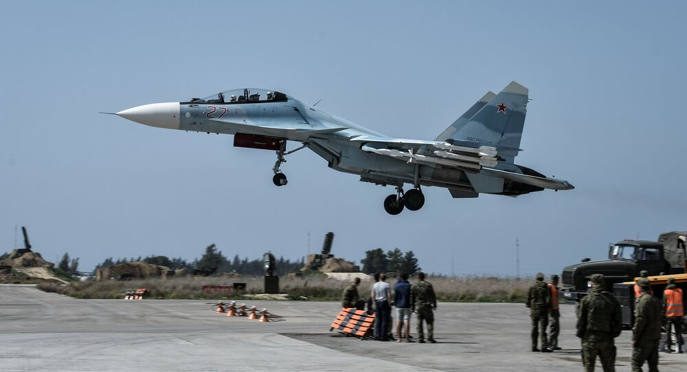 A Russian Air Force Su-30 aircraft takes off from the Hmeimim airbase